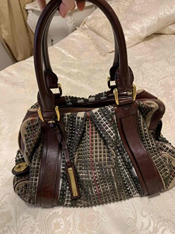 Bordo Burberry Kol Çantası