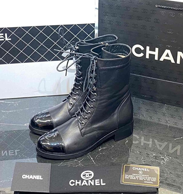 Chanel lace up ankle boot