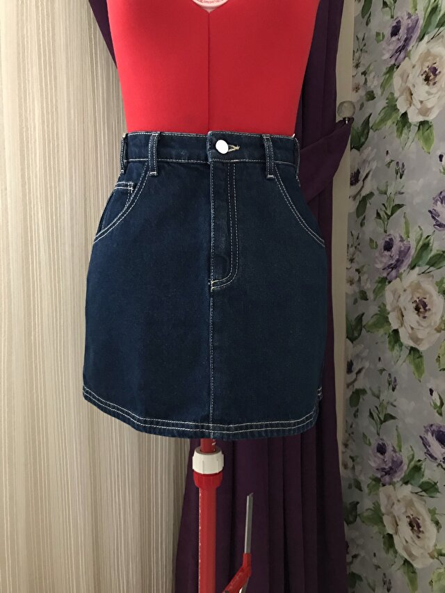 Denim mini etek