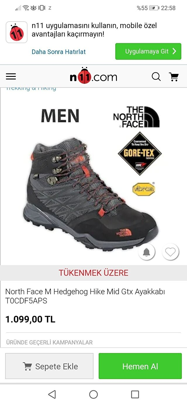 Gri The North Face Bot 800 TL 2