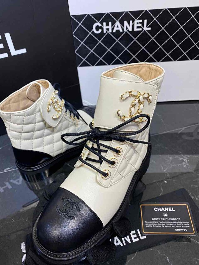 Chanel 19 lace up ankle boot